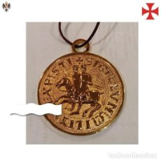 Militaria: MEDALLON TEMPLARIO SELLO DE LOS CABALLEROS + CORDÓN. 9 CMS. Lote 144226346