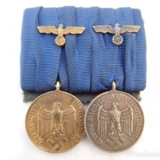 Militaria: PASADOR CON 2 CONDECORACIONES ALEMANAS III REICH 4 Y 12 AÑOS DE SERVICIO EN LA WEHRMACHT. Lote 145994218