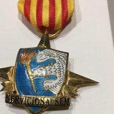 Militaria: MEDALLA SERVICIO AL SEM - SERVICIO ESPAÑOL DE MAGISTERIO FRENTE JUVENTUDES FALANGE OJE. Lote 146159684