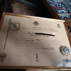 Militaria: PLACA PREMIO A LA CONSTANCIA MILITAR Y DIPLOMA DE CONCESIÓN A COMANDANTE DE INFANTERÍA AÑO 1965. Lote 146293148