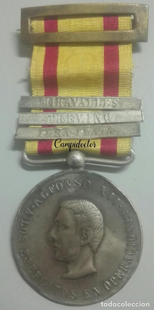 A LOS EJÉRCITOS EN OPERACIONES. GUERRAS CARLISTAS. ACCIONES DE MIRAVALLES, TREVIÑO Y PEÑA PLATA (Militar - Medallas Españolas Originales )