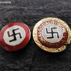 Militaria: DOS EMBLEMAS ESMALTE,ALFILER NSDAP, REPLICAS.. Lote 155872832