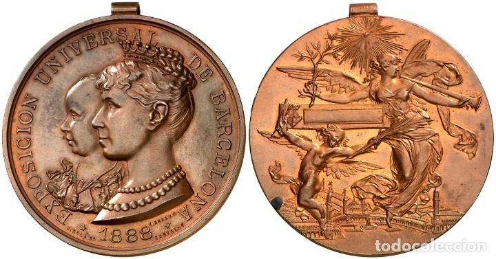 MEDALLA EXPOSICION UNIVERSAL DE BARCELONA 1888 ALFONSO XIII Y MARIA CRISTINA EBC (Militar - Medallas Españolas Originales )