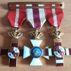 Militaria: 3 MEDALLAS Y PASADOR CRUZ MÉRITO MILITAR PENSIONADA ORDEN SAN HERMENEGILDO CONSTANCIA FERNANDO VII. Lote 150551276