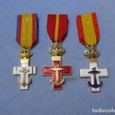 Militaria: * LOTE 3 MEDALLA DISTINTA DEL MERITO NAVAL DE JUAN CARLOS I, BLANCO Y ROJO. MARINA. ZX. Lote 151327034