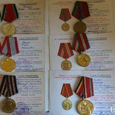 Militaria: LOTE MEDALLA URSS RUSA 6UD CON DOCUMENTACIÓN PARA UNA PERSONA. APELLIDO: BURDA F.. Lote 152744522