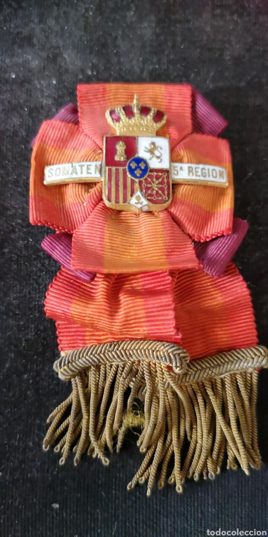 DISTINTIVO O HUEVO FRITO DE PROFESORADO DE SOMATEN DE LA QUINTA REGIÓN, ÉPOCA DE ALFONSO XIII (Militar - Medallas Españolas Originales )