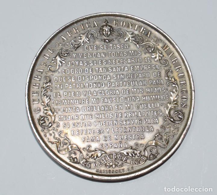 Militaria: Medalla de mano Isabel II Guerra de África contra Marruecos - Foto 2 - 153093262