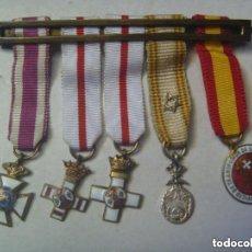 Militaria: PASADOR DE 5 MEDALLAS EN MINIATURA: S. HERMENEGILDO, MERITO MILITAR BLANCO, CRUZ ROJA. EPOCA FRANCO. Lote 154682286