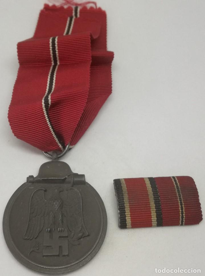 MEDALLA CAMPAÑA INVIERNO DEL ESTE + PASADOR CRUZ DE HIERRO DIVISIÓN AZUL RUSIA 1941-1942 OSTMEDAILLE (Militar - Medallas Españolas Originales )