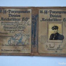 Militaria: AUSWEIS 16. SS PANZERGRENADIER DIVISION REICHSFUHRER SS. Lote 159523376
