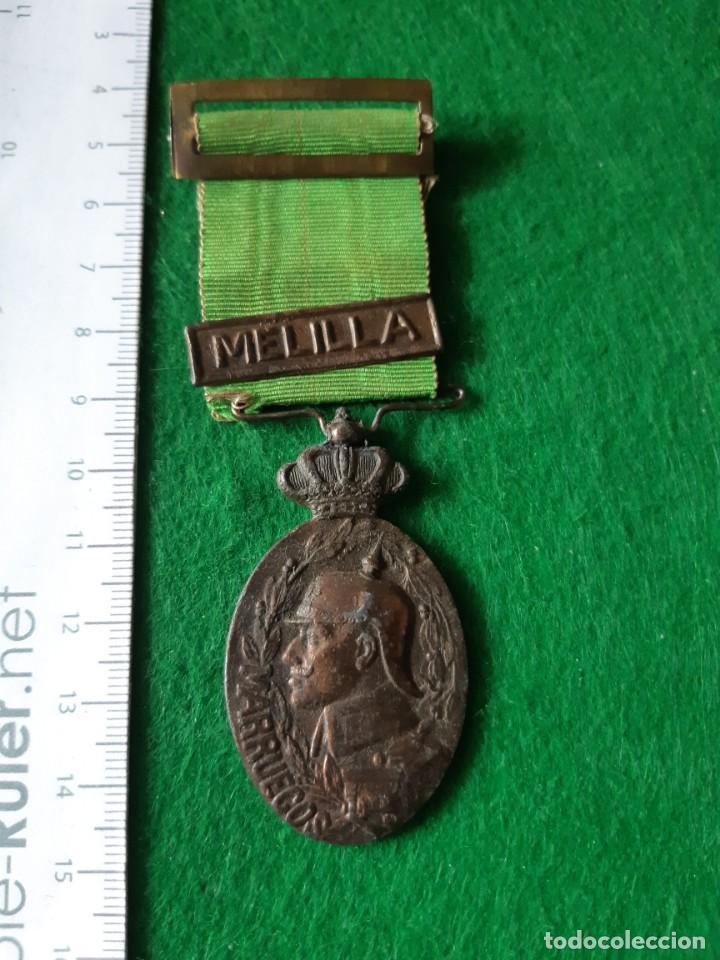 MEDALLA ALFONSO XIII, CAMPAÑA DE MARRUECOS, PASADOR MELILLA. (Militar - Medallas Españolas Originales )