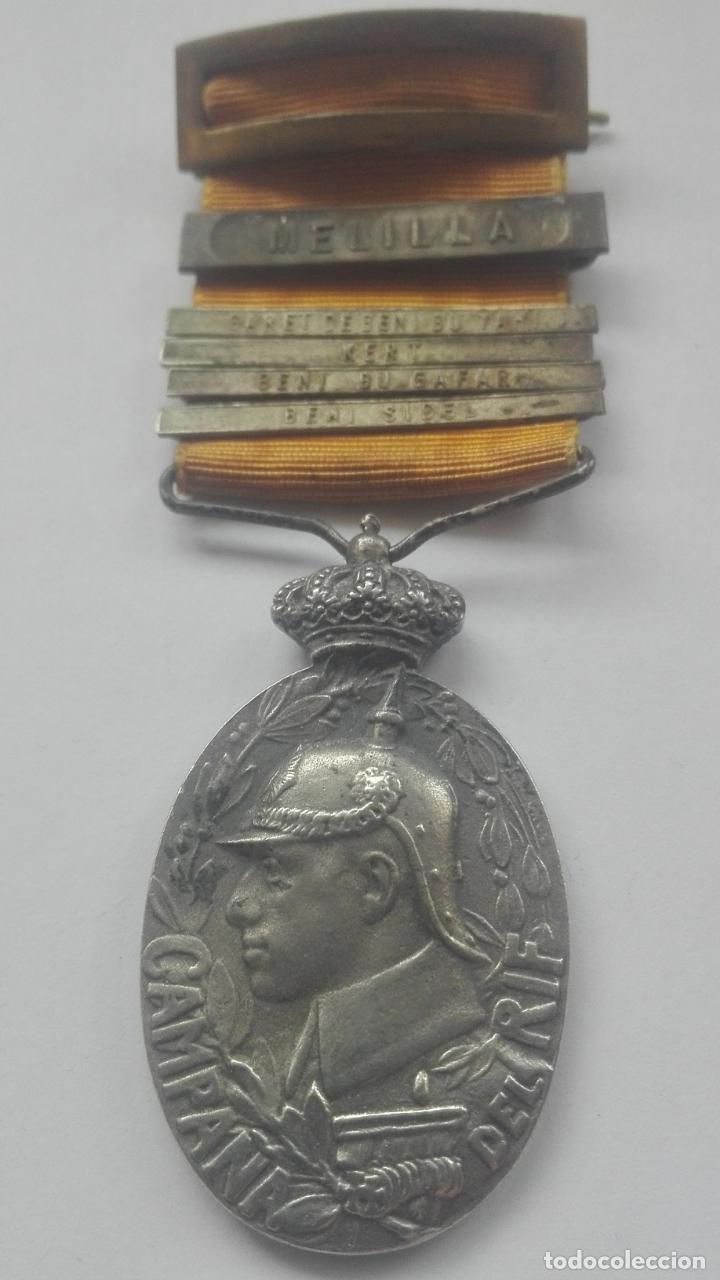 CAMPAÑA DEL RIF CON 5 PASADORES. GUERRA DE ÁFRICA. (Militar - Medallas Españolas Originales )