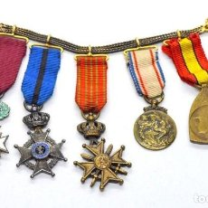 Militaria: CINCO MEDALLAS FRANCESAS EN MINIATURA, EN SU CADENA-PASADOR DE GALA.. Lote 164698930
