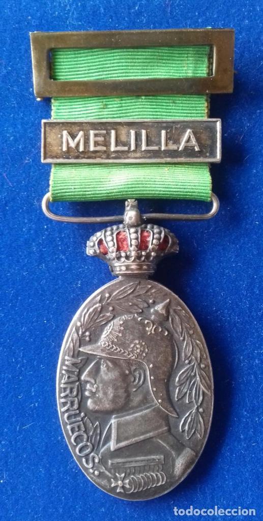 Militaria: MEDALLA MILITAR DE MARRUECOS 1916 - CATEGORIA PLATA CON PASADOR MELILLA - Foto 2 - 164723502