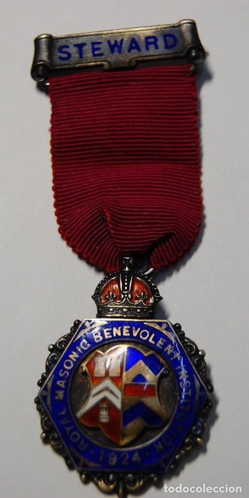 MEDALLA MASONICA INGLESA DE PLATA MACIZA DE 1924.EXTRAORDINARIO ESTADO. (Militar - Medallas Internacionales Originales)