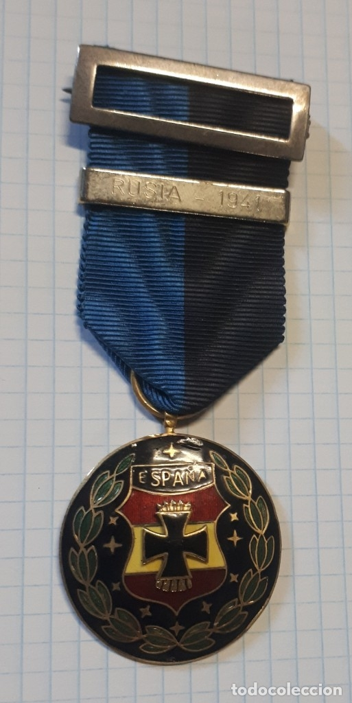 MEDALLA VIUDAS DE LA DIVISIÓN AZUL, PASADOR PLATEADO, RUSIA 1941 (Militar - Medallas Españolas Originales )