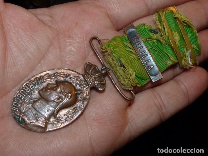 MEDALLA BIFAZ ALFONSO XIII CAMPAÑA DE MARRUECOS 1916 PASADOR MELILLA CON MUCHA VIDA (Militar - Medallas Españolas Originales )