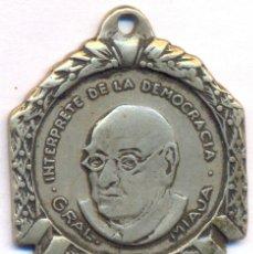 Militaria: MEDALLA DEDICADA AL GENERAL MIAJA ARGENTINA GUERRA CIVIL INTERPRETE DEMOCRACIA. Lote 172301657