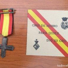 Militaria: MEDALLA AMO A ESPAÑA GUERRA CIVIL 1936 BANDO NACIONAL - PARA QUIEN DIO SU ORO CON SOBRE. Lote 172963418