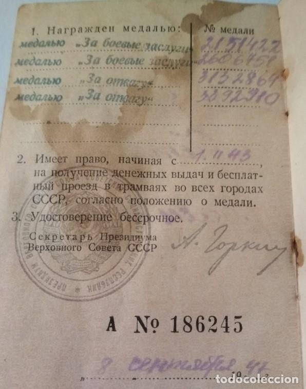 CARTILLA MILITAR SOVIÉTICA. 2 MEDALLAS AL VALOR, 2 SERVICIO EN COMBATE. (Militar - Medallas Internacionales Originales)