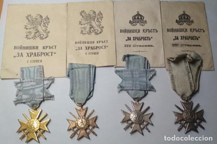 SET COMPLETO MEDALLAS VALOR BULGARIA( TROPA Y SUBOFICIALES )1915/41 CON SOBRES ENTREGA MUY RARO!!!! (Militar - Medallas Extranjeras Originales)