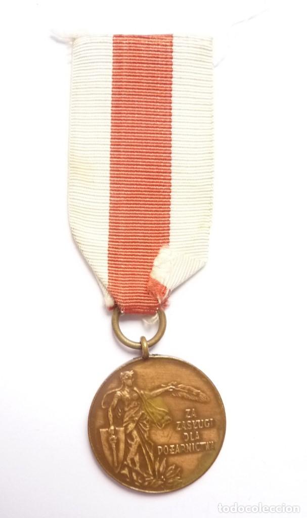 Militaria: Polonia: Medalla al mérito de los bomberos, categoría de bronce. - Foto 2 - 175155344