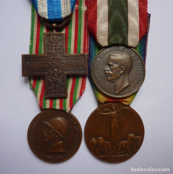 ITALIA: LOTE 4 MEDALLAS. CRUZ MÉRITO DE GUERRA, UNIDAD, BRONCE ENEMIGO E INTERALIADA. COLECCIÓN (Militar - Medallas Extranjeras Originales)