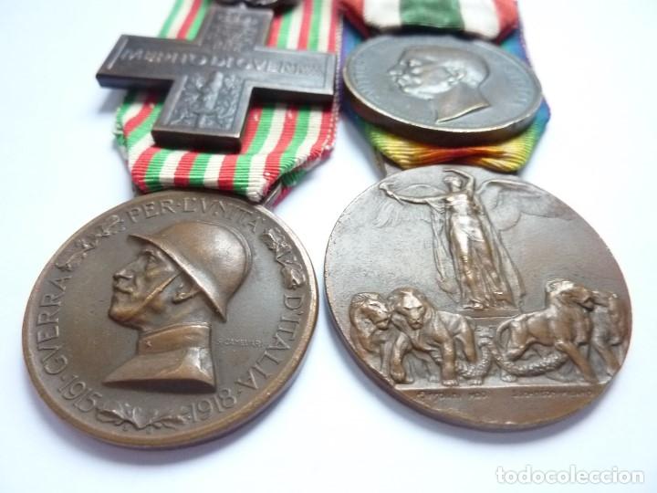 Militaria: Italia: Lote 4 medallas. Cruz Mérito de Guerra, Unidad, Bronce Enemigo e Interaliada. Colección - Foto 2 - 175158100