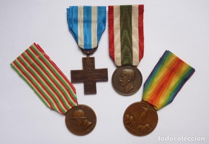 Militaria: Italia: Lote 4 medallas. Cruz Mérito de Guerra, Unidad, Bronce Enemigo e Interaliada. Colección - Foto 4 - 175158100