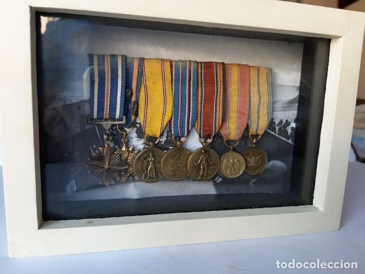 WW2. ESTADOS UNIDOS. PASADOR MEDALLAS PILOTO. CON MARCO (Militar - Medallas Internacionales Originales)