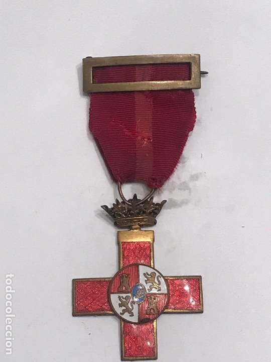 MEDALLA CRUZ EN PLATA DISTINTIVO ROJO AL MÉRITO MILITAR, GUERRA CIVIL (Militar - Medallas Españolas Originales )