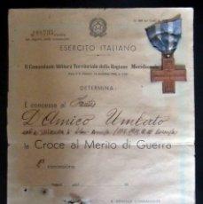 Militaria: MEDALLA MERITO MILITAR ITALIANA MERITO DI GUERRA DOCUMENTO EJERCITO ITALIANO. Lote 176483439