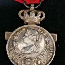 Militaria: MEDALLA ISABEL II CAMPAÑA DE AMÉRICA 1860 DE PLATA. ORIGINAL. Lote 176912913
