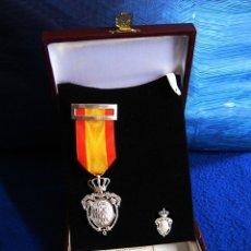 Militaria: MEDALLA E INSIGNIA INSTITUTO NACIONAL PREVISIÓN. PLATA DE LEY 925 MLS. ÉPOCA ALFONSO XIII. ORIGINAL.. Lote 177642053