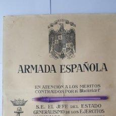 Militaria: CONCESIÓN CRUZ MÉRITO NAVAL DISTINTIVO ROJO ÉPOCA DE FRANCO . Lote 178115903