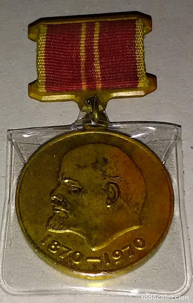 MEDALLA MILITAR RUSA AL TRABAJO REALIZADO WWII - CENTENARIO DEL NACIMIENTO DE LENIN 1870-1970 (Militar - Medallas Internacionales Originales)