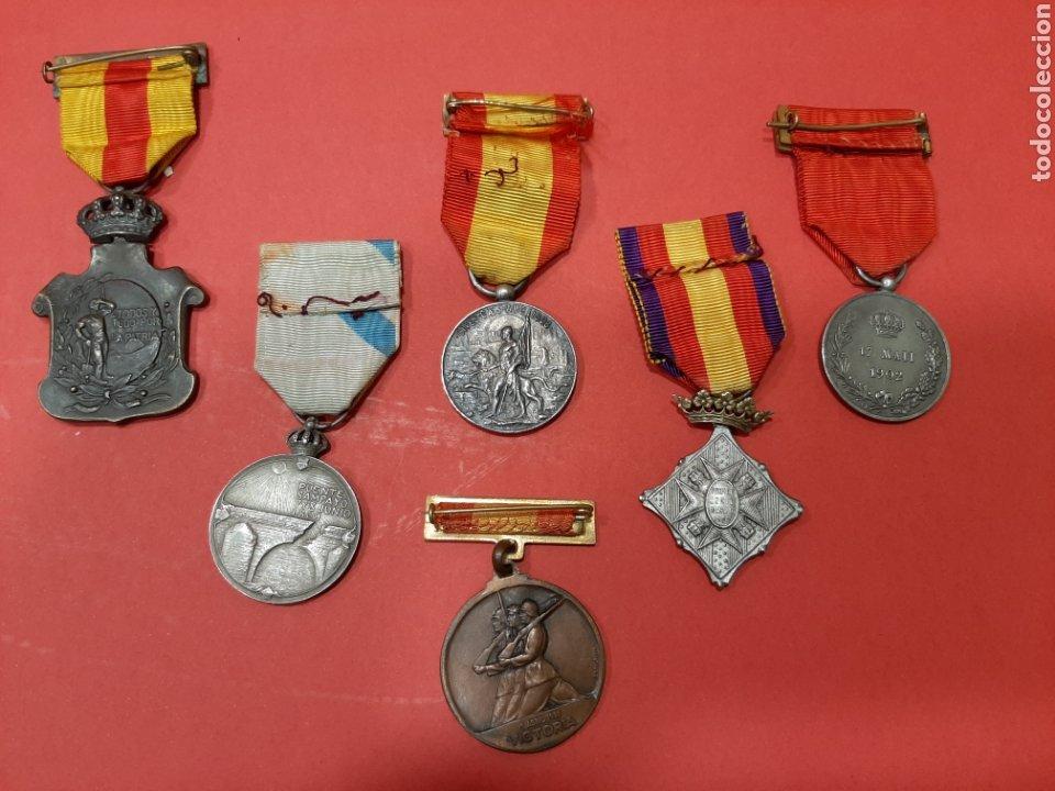 Militaria: LOTE DE 6 MEDALLAS CONMEMORATIVAS ORIGINALES. - Foto 2 - 178223230