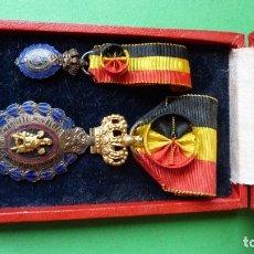 Militaria: BÉLGICA-MEDALLA MERITO INDUSTRIAL Y AGRÍCOLA, MODELO 1905 DE 1 CLASE(ROSETA EN CINTA-TODO ORIGINAL). Lote 180247588