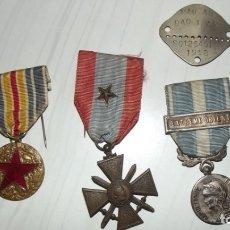 Militaria: LOTE DE MEDALLAS FRANCESAS INDOCHINA CRUZ GUERRA HERIDO Y PLACA. Lote 181790971