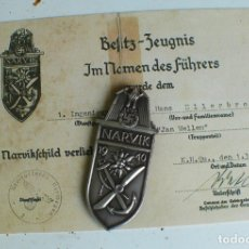 Militaria: INSIGNIA NARVIK 1940 ESCUDO DE BATALLA TERCER REICH. NAZI. Lote 181801840