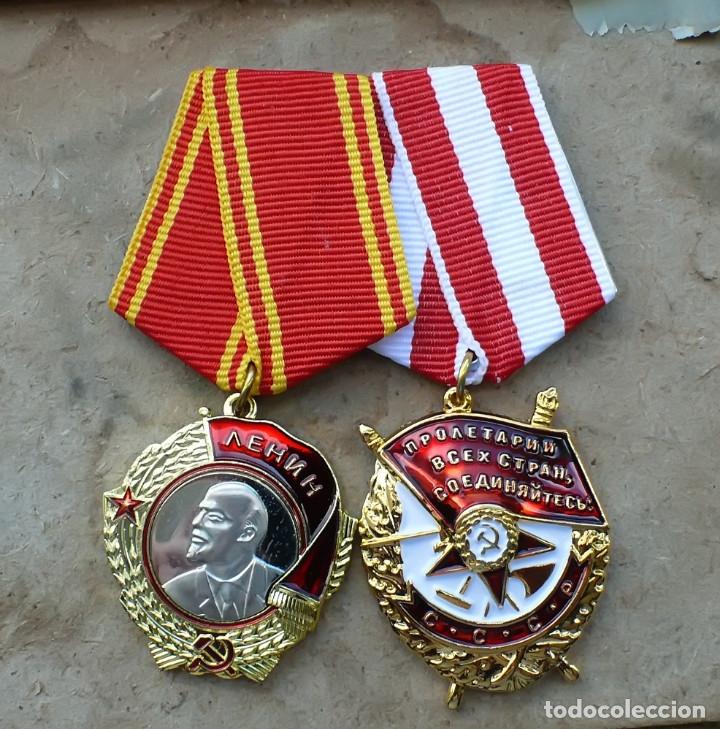 LOT.ORDEN DE LA BANDERA ROJA Y ORDEN DE LENIN. URSS.SOVETICO (Militar - Reproducciones y Réplicas de Medallas )