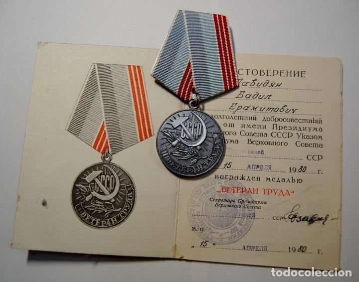 Militaria: MEDALLA CHAPADA PLATA DE VETERANO DEL TRABAJO DE RUSIA CON DOCUMENTO Y CAJITA ORIGINAL.NUEVO - Foto 4 - 182669222