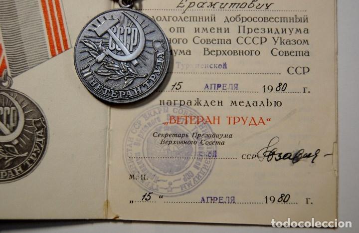 Militaria: MEDALLA CHAPADA PLATA DE VETERANO DEL TRABAJO DE RUSIA CON DOCUMENTO Y CAJITA ORIGINAL.NUEVO - Foto 5 - 182669222