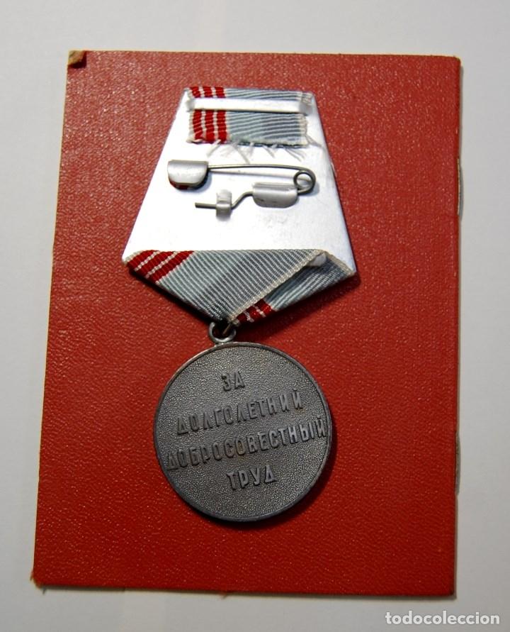 Militaria: MEDALLA CHAPADA PLATA DE VETERANO DEL TRABAJO DE RUSIA CON DOCUMENTO Y CAJITA ORIGINAL.NUEVO - Foto 6 - 182669222