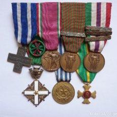 Militaria: ITALIA: PASADOR 7 MEDALLAS. VETERANO II GM: CRUZ DE GUERRA, VOLUNTARIO, ORDEN MÉRITO, ADUANAS.... Lote 183039041