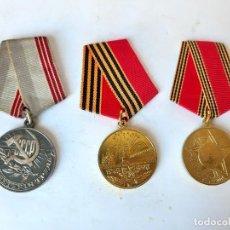 Militaria: 7. WW2. RUSIA. LOTE MEDALLAS MÉRITO AL TRABAJO, Y 50 Y 60 ANIVERSARIO VICTORIA EN LA WW2. 1939 1945. Lote 185704176
