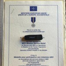 Militaria: U.E.O-, DIPLOMA MEDALLA OPERACIÓN SHARP GUARD. Lote 266325888