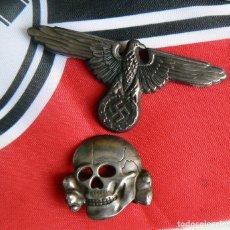 Militaria: WW2 INSIGNIAS ALEMANAS DEL ÁGUILA Y DEL CALAVERA TOTENKOPF PARA GORRA DE PLATO. Lote 235822290