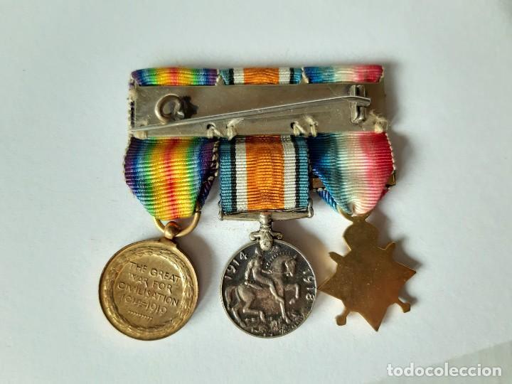 Militaria: WW1. REINO UNIDO. PASADOR DE TRES CONDECORACIONES. MINIATURAS. - Foto 2 - 188127692